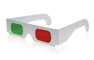 cardboard red/green anaglyph glasses